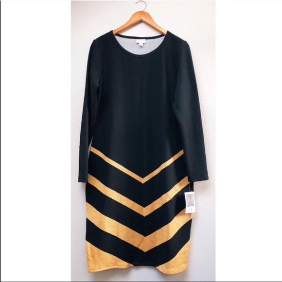 LuLaRoe Dresses & Skirts - LuLaRoe Elegant Debbie Dress Black Gold Metallic